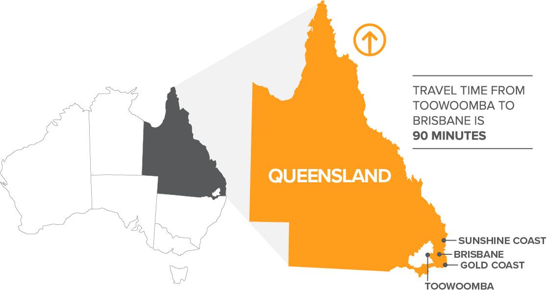 Basic Toowoomba Region location on map of Australia