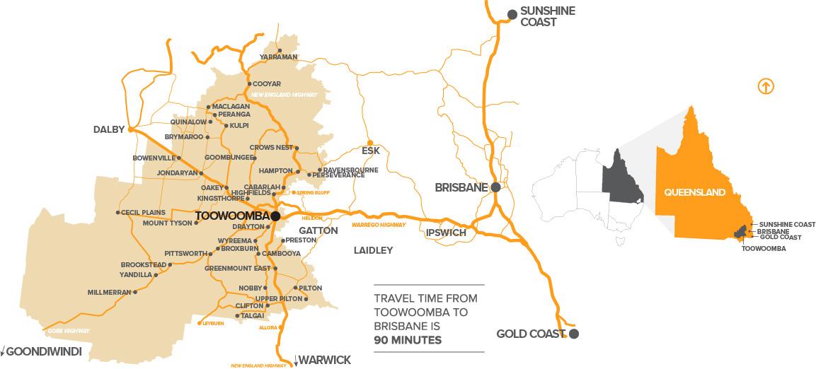 Detailed Toowoomba Region location on map of Australia