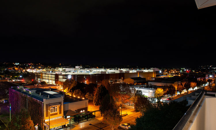view from burke and wills hotel at night